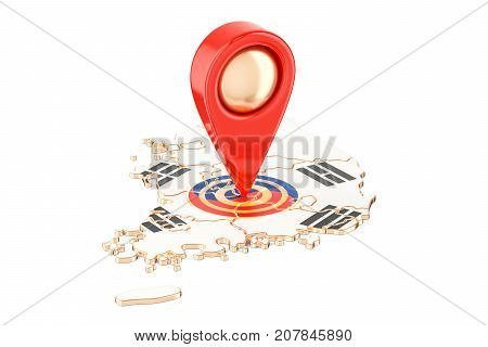 Map pointer on the map of South Korea 3D rendering isolated on white background