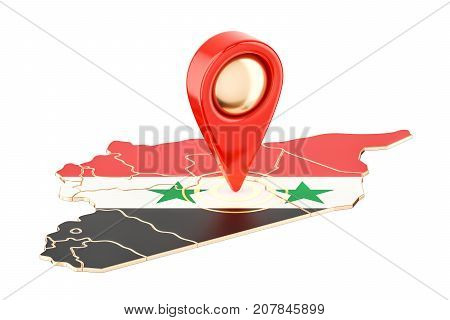 Map pointer on the map of Syria 3D rendering isolated on white background