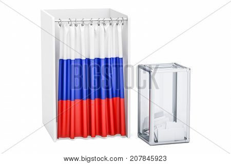 Russian election concept ballot box and voting booths with flag of Russia 3D rendering
