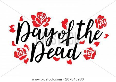 Day of the dead vector illustration. Hand sketched lettering 'Day of the Dead' for postcard or celebration design.