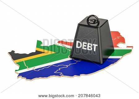 South Africa national debt or budget deficit financial crisis concept 3D rendering
