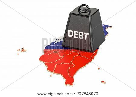 Taiwan national debt or budget deficit financial crisis concept 3D rendering