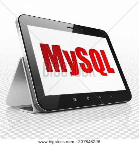 Programming concept: Tablet Computer with red text MySQL on display, 3D rendering