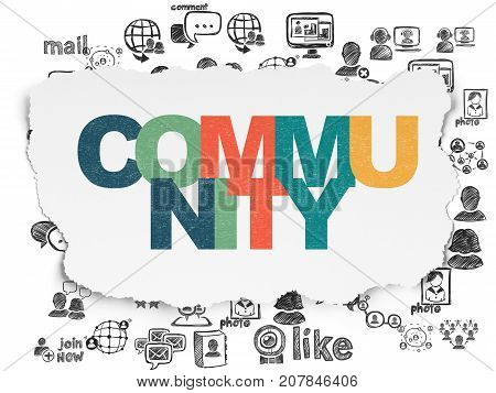 Social media concept: Painted multicolor text Community on Torn Paper background with  Hand Drawn Social Network Icons