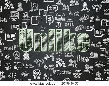 Social network concept: Chalk Green text Unlike on School board background with  Hand Drawn Social Network Icons, School Board
