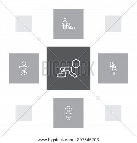 Collection Of Skipping Rope, Crawling Kid, Baby And Other Elements.  Set Of 5 People Outline Icons Set.