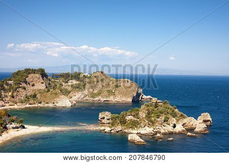 The isola Bella at Taormina in Sicily Italy
