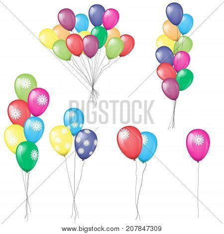 Bunches and groups of colorful helium balloons with snowflakes on them are isolated. Illustrated vector. Each balloon and bunch grouped by separately