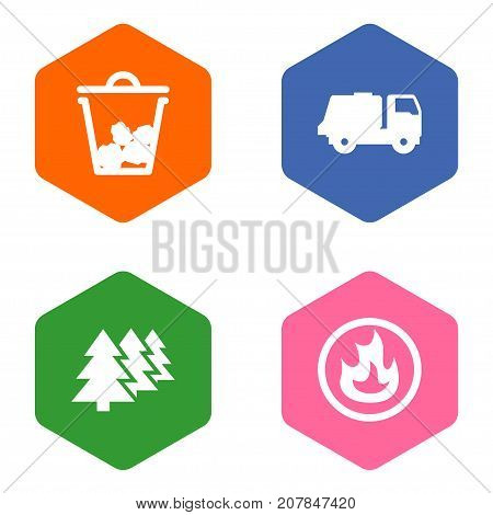 Collection Of Reforestation, Shipping, Trash And Other Elements.  Set Of 4 Atmosphere Icons Set.