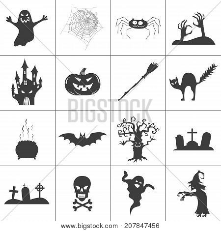 Set of halloween spooky black silhouettes. Vector icons for halloween invitation card or halloween party poster vector.