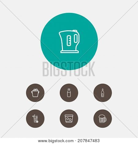 Collection Of Dairy, Bottle, Kettle And Other Elements.  Set Of 7 Drinks Outline Icons Set.