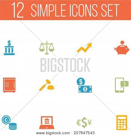 Collection Of Currency, Strongbox, Judge And Other Elements.  Set Of 12 Finance Icons Set.