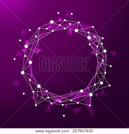 Abstract low poly frame with polygon line on abstract background. Polygonal space low poly with connecting dots and lines. Connection structure. Vector science background.