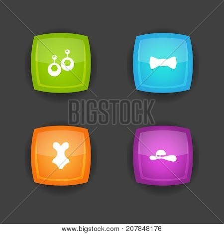 Collection Of Beachwear, Bow Tie, Eardrop And Other Elements.  Set Of 4 Ornamentation Icons Set.