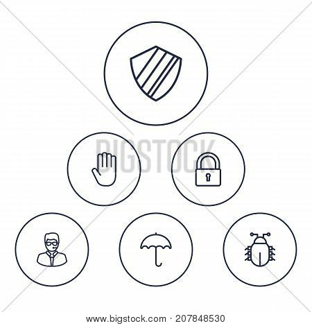 Collection Of Bodyguard, Protection, Virus And Other Elements.  Set Of 6 Safety Outline Icons Set.
