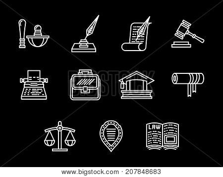 Abstract symbols of legal regulations. Court elements, gavel, lawyer services and others. Set of simple white line design vector icons on black.