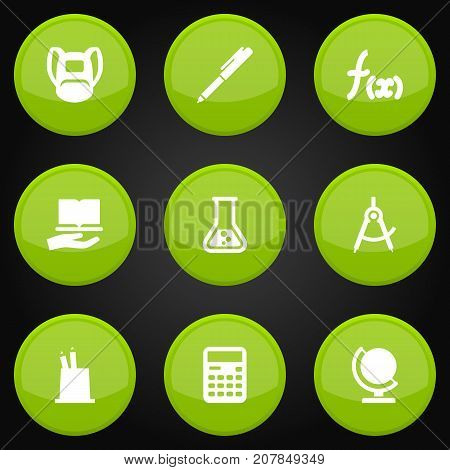 Collection Of Globe, Accounting, Pen Holder And Other Elements.  Set Of 9 Knowledge Icons Set.