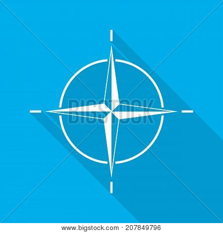 Compass icon in flat design. Vector illustration. White compass with long shadow on blue background