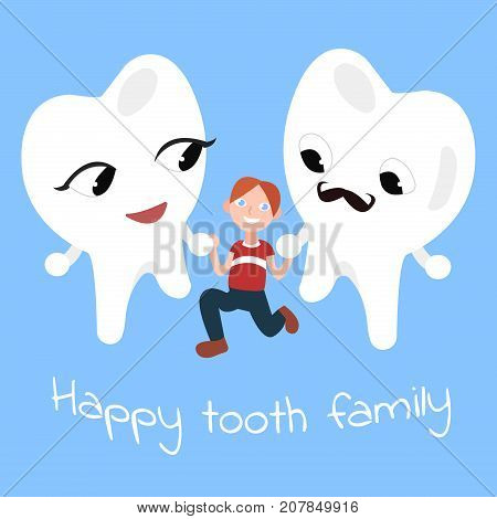 Happy tooth family. Boy takes teeth hands. Mother tooth and father tooth with boy. cartoon vector illustration.