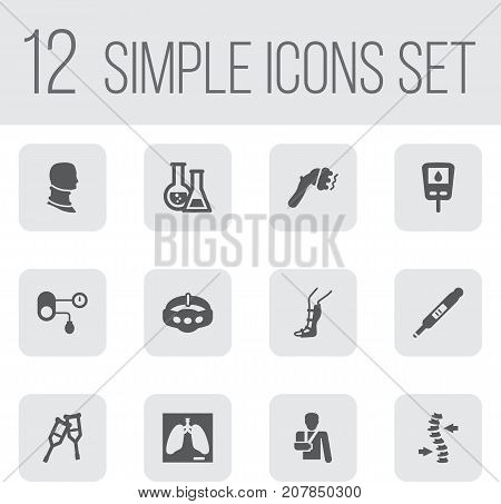 Collection Of Splint, Lung, Machine And Other Elements.  Set Of 12 Medical Icons Set.
