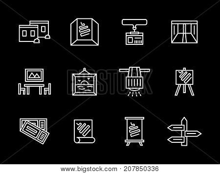 Abstract symbols of art showroom objects. Showing and exhibition places for different products. Set of simple white line design vector icons on black.