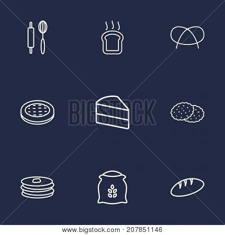 Collection Of Pancakes, Bread, Cake And Other Elements.  Set Of 9 Cooking Outline Icons Set.