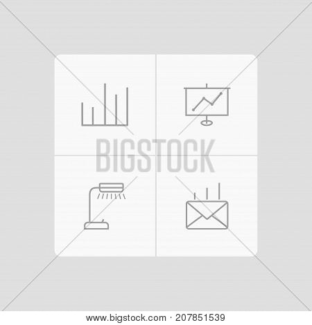 Collection Of Reading-Lamp, Show, Post And Other Elements.  Set Of 4 Bureau Outline Icons Set.