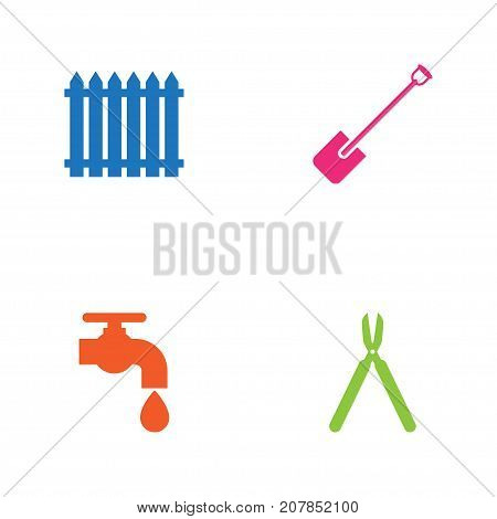 Collection Of Fence, Shears, Shovel And Other Elements.  Set Of 4 Household Icons Set.
