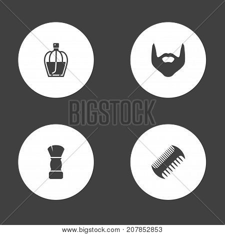 Collection Of Comb, Perfume, Hipster And Other Elements.  Set Of 4 Shop Icons Set.