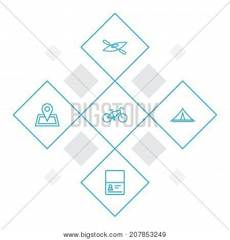 Collection Of Bike, Awning, Certificate And Other Elements.  Set Of 5 Relax Outline Icons Set.