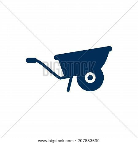 Vector Pushcart Element In Trendy Style.  Isolated Wheelbarrow Icon Symbol On Clean Background.