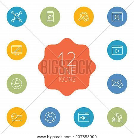 Collection Of Stock Exchange, Block, Password And Other Elements.  Set Of 12 Engine Outline Icons Set.