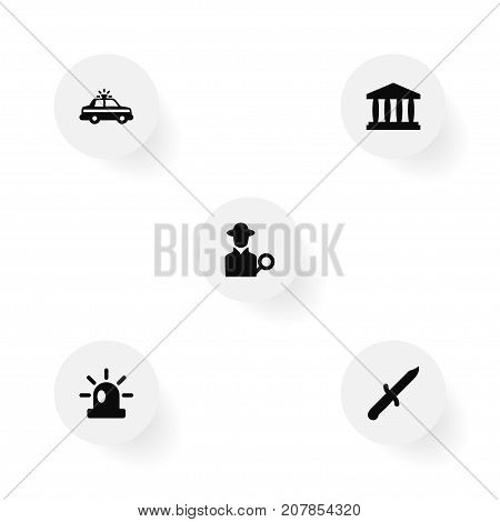 Collection Of Signal, Inspector, Building And Other Elements.  Set Of 5 Criminal Icons Set.