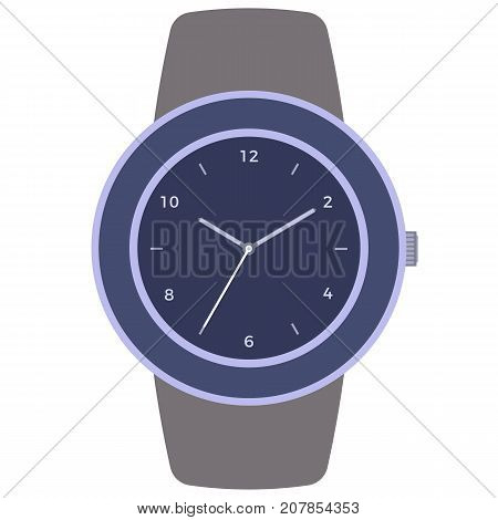 Classic design mechanical wristwatch isolated on white background. Clock face with hour minute and second hands. Vector illustration.