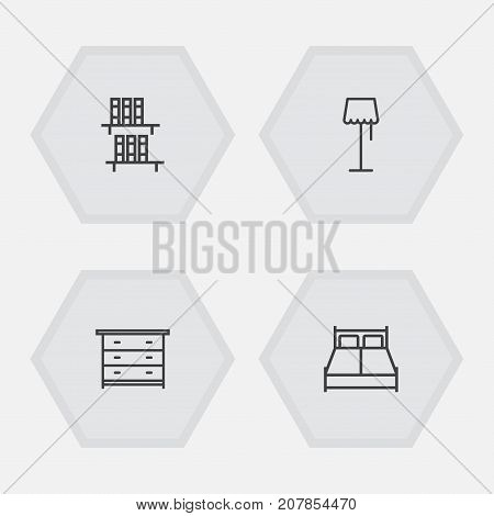 Collection Of Bookshelf, Double Bed, Floor Lapm And Other Elements.  Set Of 4 Situation Outline Icons Set.
