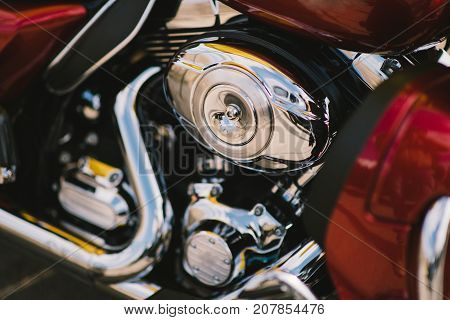 Shiny chrome motorcycle engine block. power engine