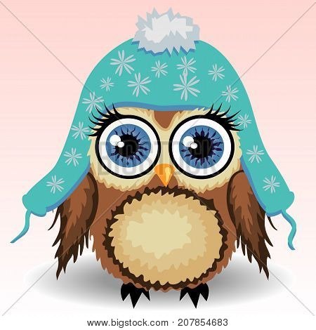 A Little Cute Owl In A Blue Cap With Long Ears, A Winter Owl, Shelter From The Cold