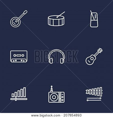 Collection Of Percussion, Acoustic, Headphones And Other Elements.  Set Of 9 Song Outline Icons Set.
