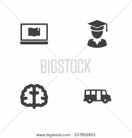 Collection Of Marrow, School Autobus, Notebook And Other Elements.  Set Of 4 Studies Icons Set.
