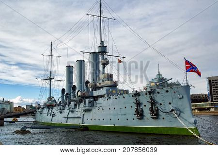 Saint-Petersburg Russia - May 14 2006: The Aurora is a 1900 Russian protected cruiser currently preserved as a museum ship