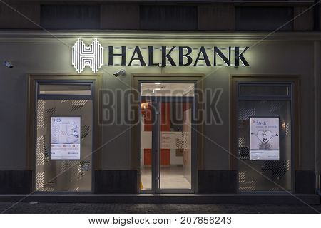 BELGRADE SERBIA - OCTOBER 10 2017: Local branch of the Turkish bank Halkbank which started to open offices in Serbia