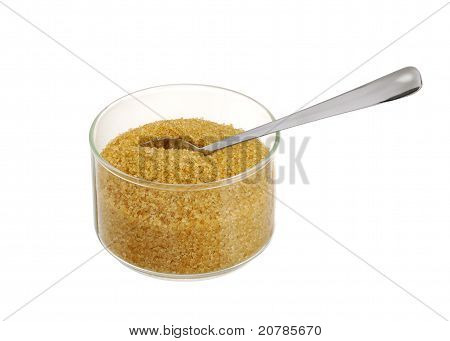 Golden Demerara  Sugar In Glass Bowl With Teaspoon