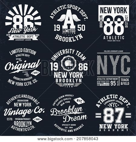 New York, Brooklyn Typography, Badges Set For T-shirt Print. Sports, Athletic T-shirt Patches. T-shi