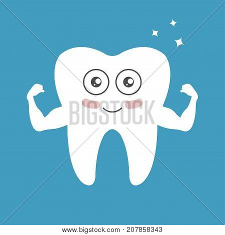 Whitening tooth, power muscle strain for show solidity with shining effect and the happy face - vector
