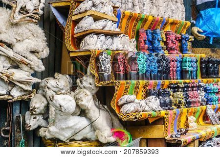 View on witchcraft market with baby llama foetuses in la Paz - Bolivia