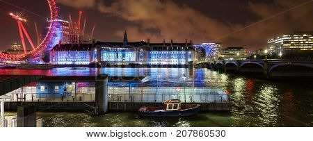 London, UK. 29th September 2017. River Thames night capture of the South Bank in central London