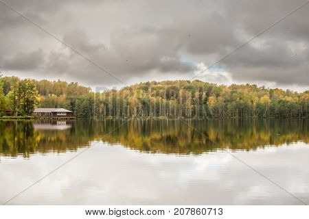 lake in autumn forest panorama shot of the day
