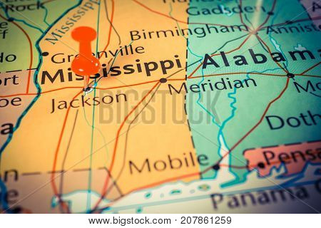 Mississippi on the map of United States