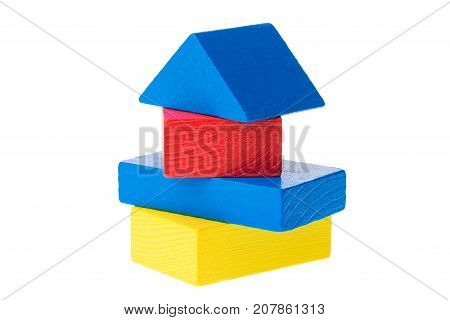 Wooden building blocks for kids isolated on white background