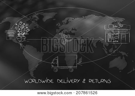 Web Order Delivered And Returned To Shop (with World Map Overlay)